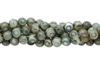 Tibetan Style - Khaki Green / Beige - Agate Matte 8mm Round