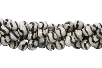 Tibetan Black and Beige Agate Polished 10mm Faceted Round