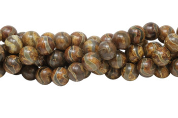 Tibetan Agate Brown and Khaki Polished 12mm Round