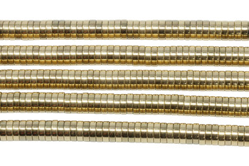 Gold Plated Hematite Polished 2x6mm Heishi