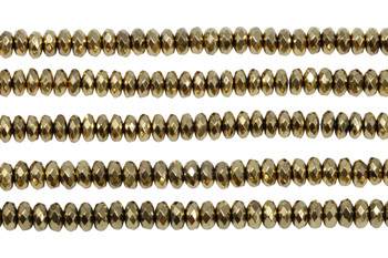 Gold Plated Hematite Polished 3x6mm Faceted Rondel
