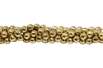 Gold Plated Hematite Polished 10mm Faceted Round