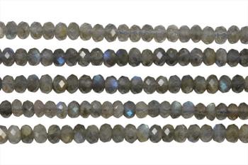 Labradorite Polished 4x6mm Faceted Rondel