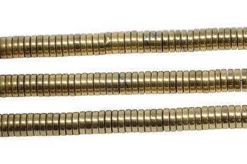 Gold Plated Hematite Polished 2x8mm Heishi