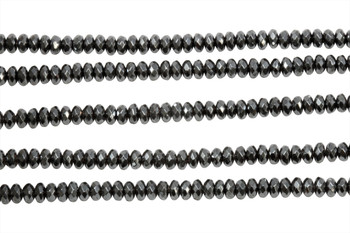 Hematite Polished 2x4mm Faceted Rondel