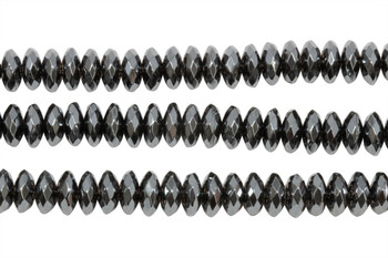Hematite Polished 4x8mm Faceted Rondel