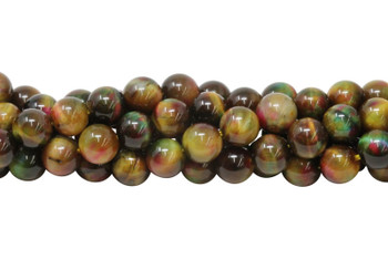 Galaxy Tiger Eye Polished 8mm Round - Autumn Mix