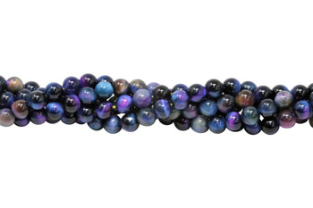 Galaxy Tiger Eye Polished 6mm Round - Blue Mix