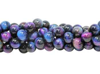 Galaxy Tiger Eye Polished 8mm Round - Blue Mix