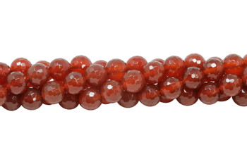 Carnelian Polished 10mm 128 Cut Faceted Round