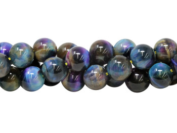 Galaxy Tiger Eye Polished 12mm Round - Blue Mix