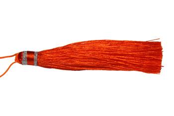 Orange 3.5 Inch Silver Wrap Tassel