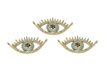 Gold Micro Pave 15x27mm Evil Eye Link