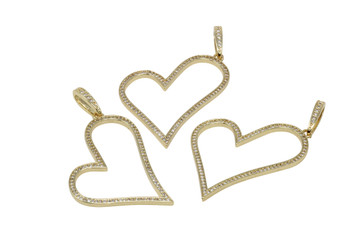 Gold Micro Pave 40-45mm Open Heart Charm