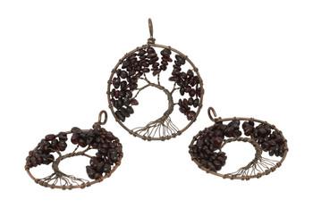 Garnet Brass/Copper Wire Wrapped Tree Round Pendant