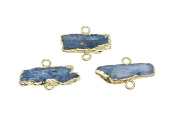 Kyanite Rough Gold Edge Plated 25x38mm Connector