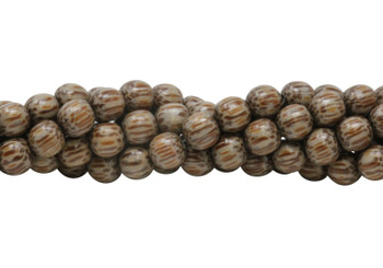 Dyed Taupe Palm Wood Polished 8mm Round
