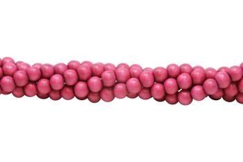 Dyed Fuchsia Pink Wood Polished 8mm Round