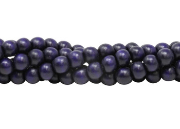 Dyed Cobalt Blue Wood Polished 8mm Round