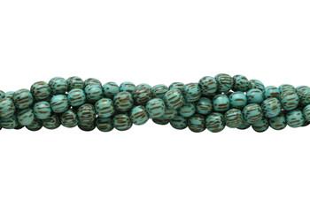 Dyed Turquoise Palmwood Polished 8mm Round