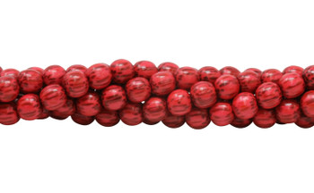 Dyed Red Palmwood Polished 8mm Round