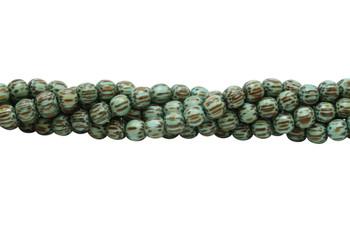 Dyed Light Turquoise Palmwood Polished 8mm Round