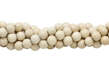 White Wood Natural Polished 10mm Round