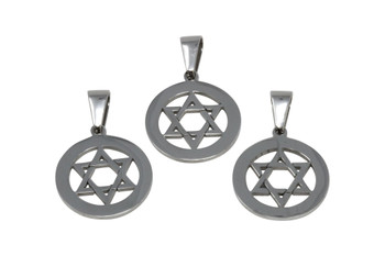 Stainless Steel 32x21x1.5mm Star of David