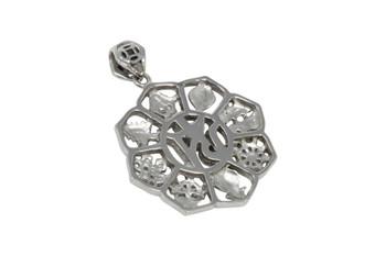Stainless Steel Yoga Symbols Flower 39.5x36x4mm Pendant