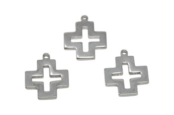Stainless Steel Square Cross 22.5x19mm Pendant