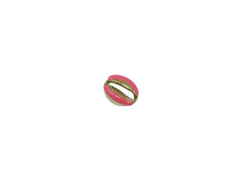 Gold 12x19mm Pink Plated Zinc Alloy Cowrie Shell Bead