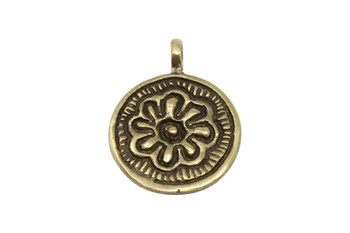 Indian Brass 30mm Flower Disc Pendant