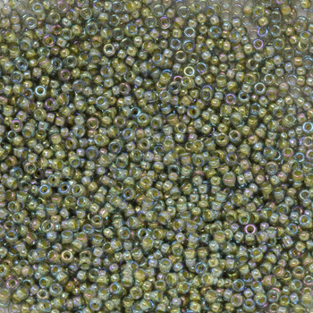 Size 15 Miyuki Seed Beads -- 361 Olivine  / Beige Lined AB