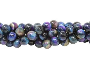 Galaxy Tiger Eye Polished 10mm Round - Blue Mix