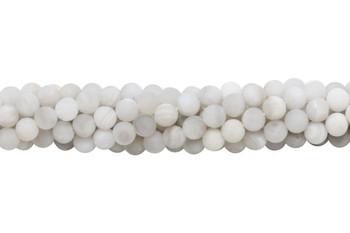 White Crazy Lace Agate Matte 6mm Round