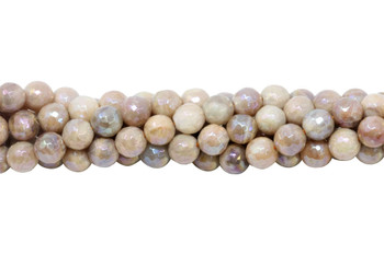 Sunstone Polished 8mm Faceted Round - Coated