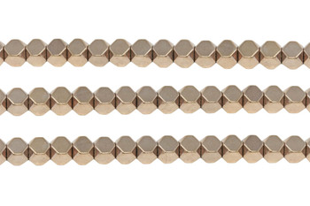 Rose Gold Plated Hematite Polished 6mm Faceted Cube