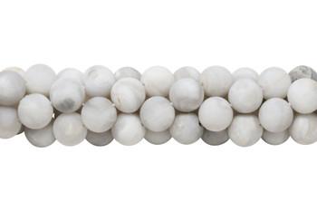 White Crazy Lace Agate Matte 12mm Round