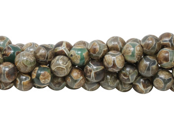 Tibetan Brown and Khaki Agate Polished 8mm Round