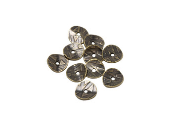 10mm Wavy Disc Spacers Brass Plated - 10 Pieces