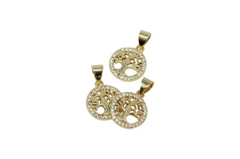 Gold Micro Pave 11mm Round with Tree