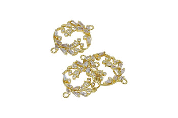 Gold Micro Pave Floral Connector