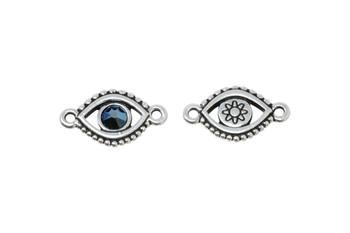 Evil Eye Link - Swarovski - Silver Plated