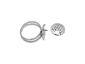 Silver Plated Mesh Beading Ring