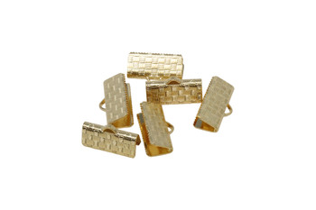 Gold Plated 17mm Flat Crimp Ends - 6 Pieces