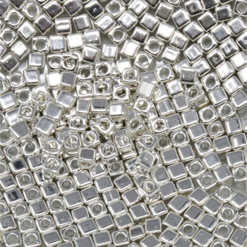 1.8mm Miyuki Cube Seed Beads -- Silver Plated