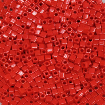 1.8mm Miyuki Cube Seed Beads -- Opaque Red