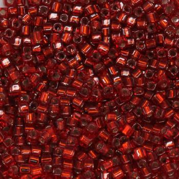 1.8mm Miyuki Cube Seed Beads -- 11 Ruby / Silver Lined