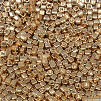 1.8mm Miyuki Cube Seed Beads -- Galvanized Gold