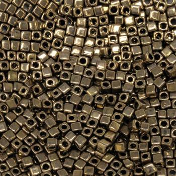 1.8mm Miyuki Cube Seed Beads -- Metallic Dark Bronze
